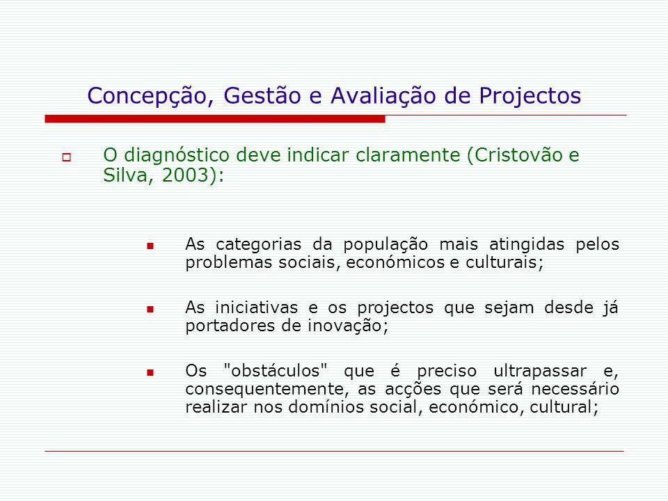Concepção, Gestão e Avaliação de Projectos  O diagnóstico deve indicar claramente (Cristovão e Silva, 2003): As categorias da população mais atingida