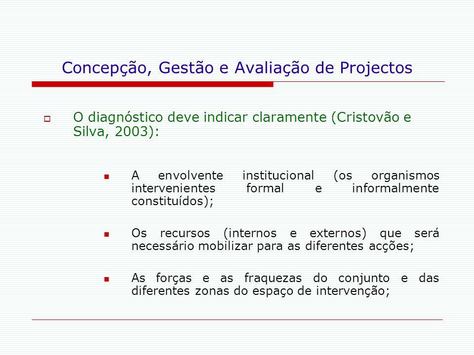 Concepção, Gestão e Avaliação de Projectos  O diagnóstico deve indicar claramente (Cristovão e Silva, 2003): A envolvente institucional (os organismo