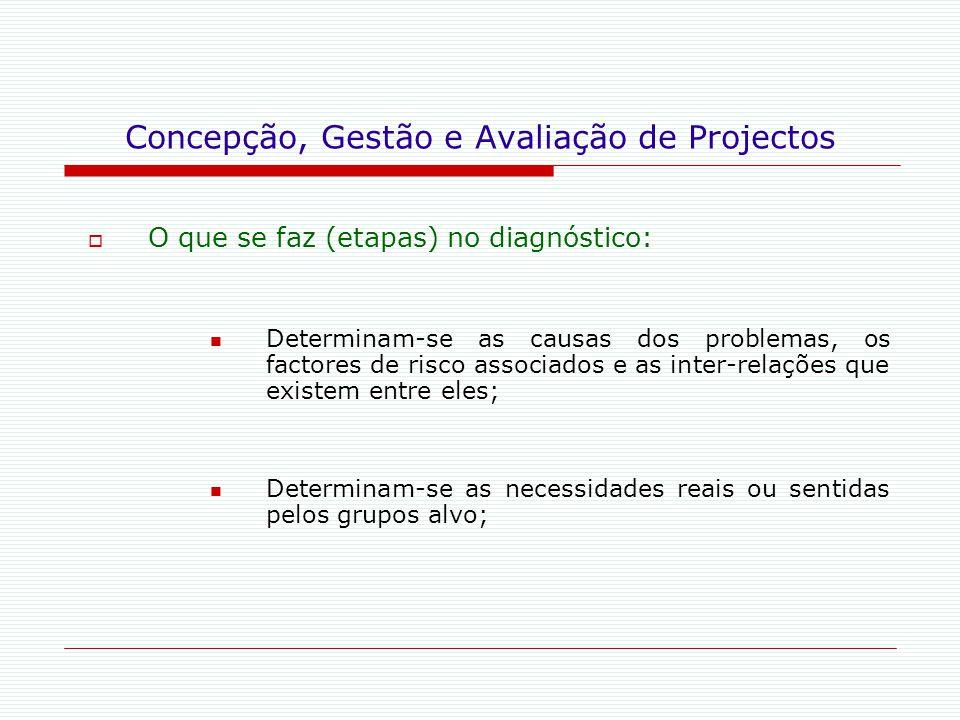 Concepção, Gestão e Avaliação de Projectos  O que se faz (etapas) no diagnóstico: Determinam-se as causas dos problemas, os factores de risco associa