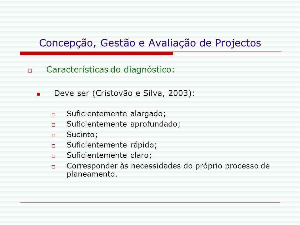 Concepção, Gestão e Avaliação de Projectos  Características do diagnóstico: Deve ser (Cristovão e Silva, 2003):  Suficientemente alargado;  Suficie