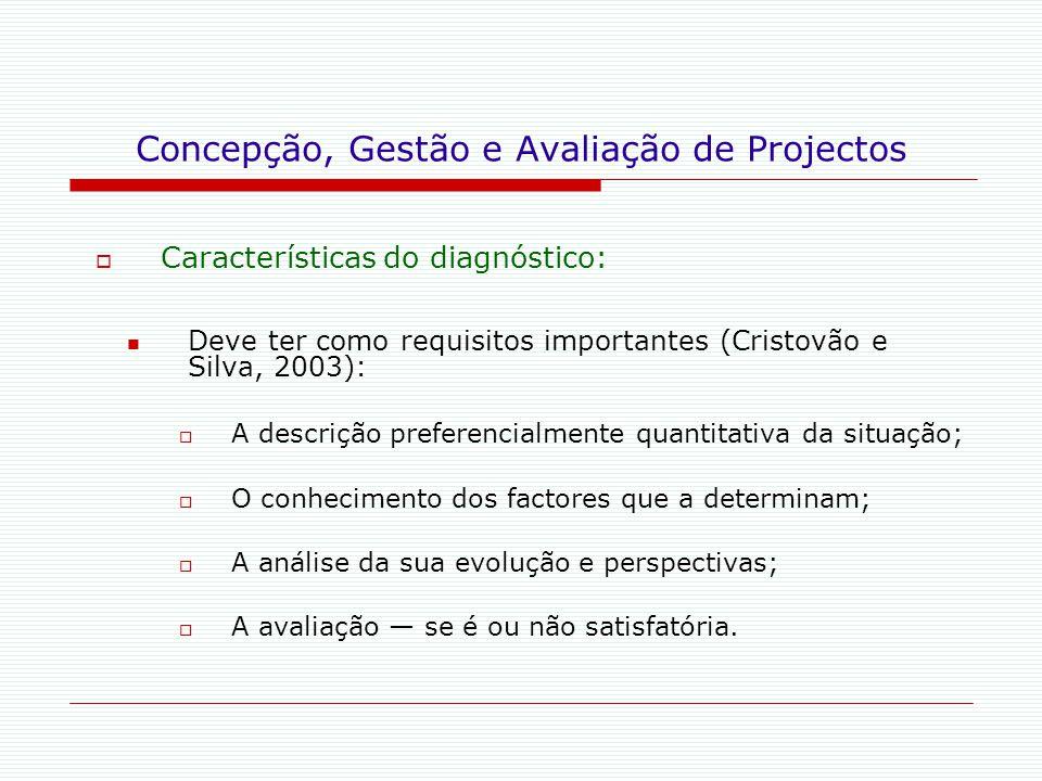 Concepção, Gestão e Avaliação de Projectos  Características do diagnóstico: Deve ter como requisitos importantes (Cristovão e Silva, 2003):  A descr