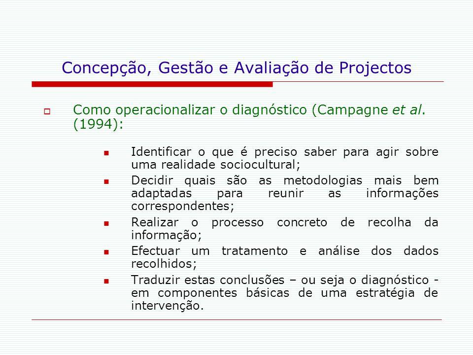 Concepção, Gestão e Avaliação de Projectos  Como operacionalizar o diagnóstico (Campagne et al. (1994): Identificar o que é preciso saber para agir s