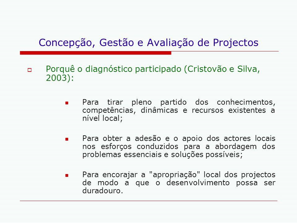 Concepção, Gestão e Avaliação de Projectos  Porquê o diagnóstico participado (Cristovão e Silva, 2003): Para tirar pleno partido dos conhecimentos, c