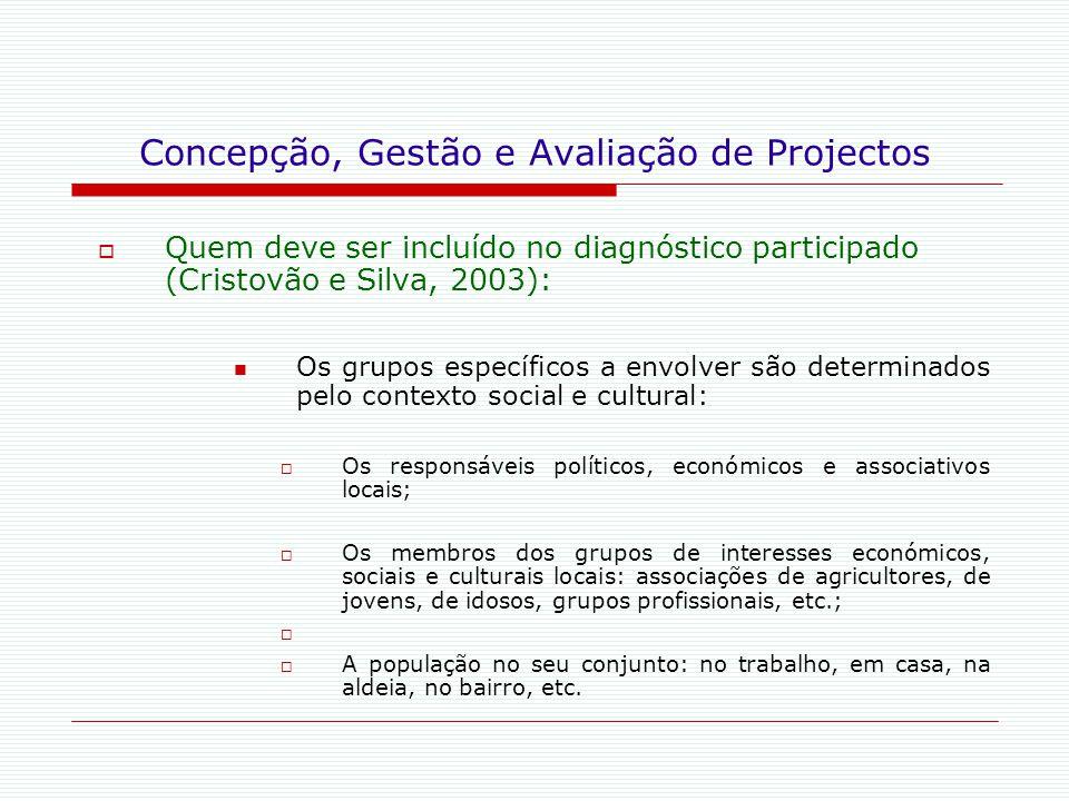Concepção, Gestão e Avaliação de Projectos  Quem deve ser incluído no diagnóstico participado (Cristovão e Silva, 2003): Os grupos específicos a envo