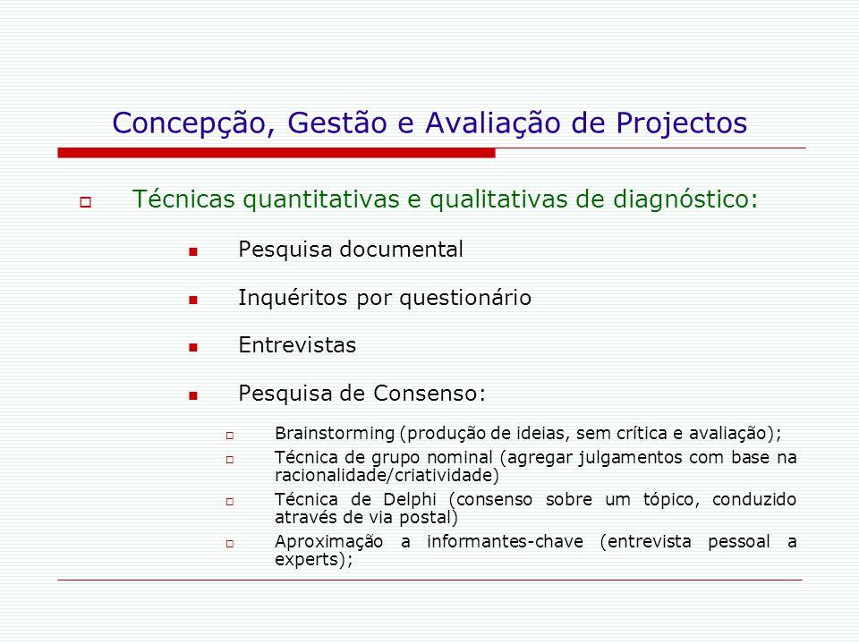 Concepção, Gestão e Avaliação de Projectos  Técnicas quantitativas e qualitativas de diagnóstico: Pesquisa documental Inquéritos por questionário Ent