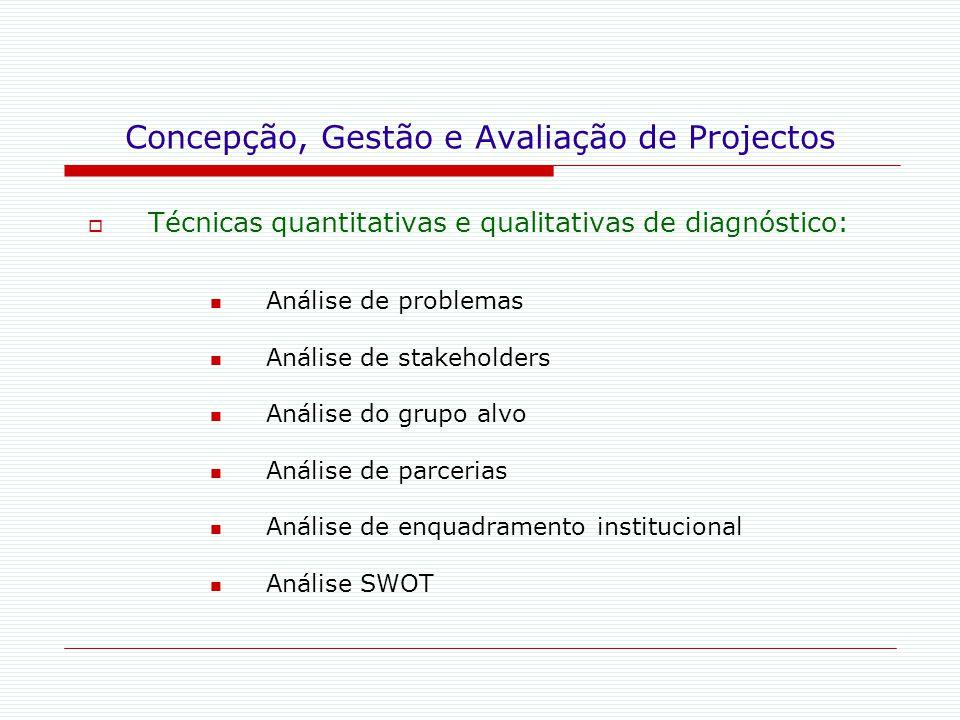 Concepção, Gestão e Avaliação de Projectos  Técnicas quantitativas e qualitativas de diagnóstico: Análise de problemas Análise de stakeholders Anális