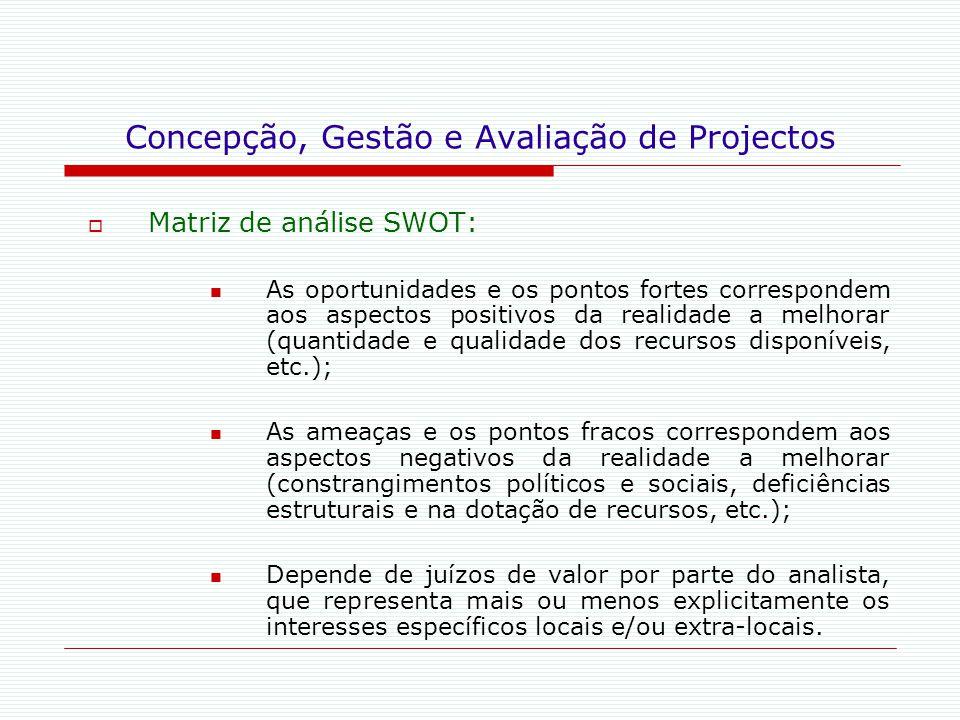 Concepção, Gestão e Avaliação de Projectos  Matriz de análise SWOT: As oportunidades e os pontos fortes correspondem aos aspectos positivos da realid