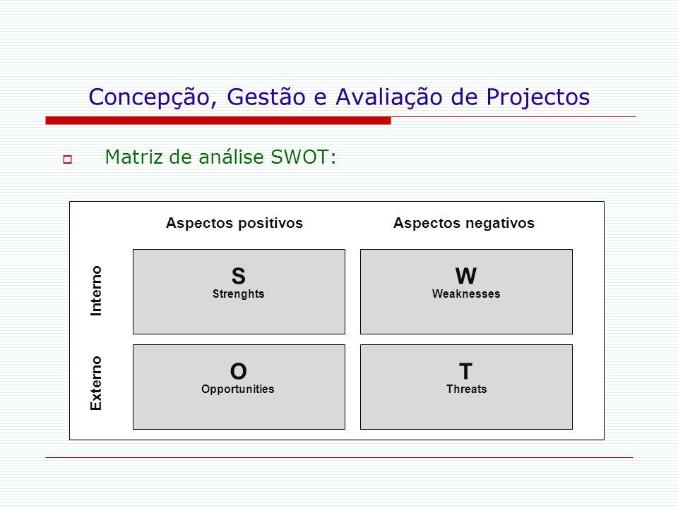 Concepção, Gestão e Avaliação de Projectos  Matriz de análise SWOT: S Strenghts W Weaknesses Aspectos negativosAspectos positivos O Opportunities T T