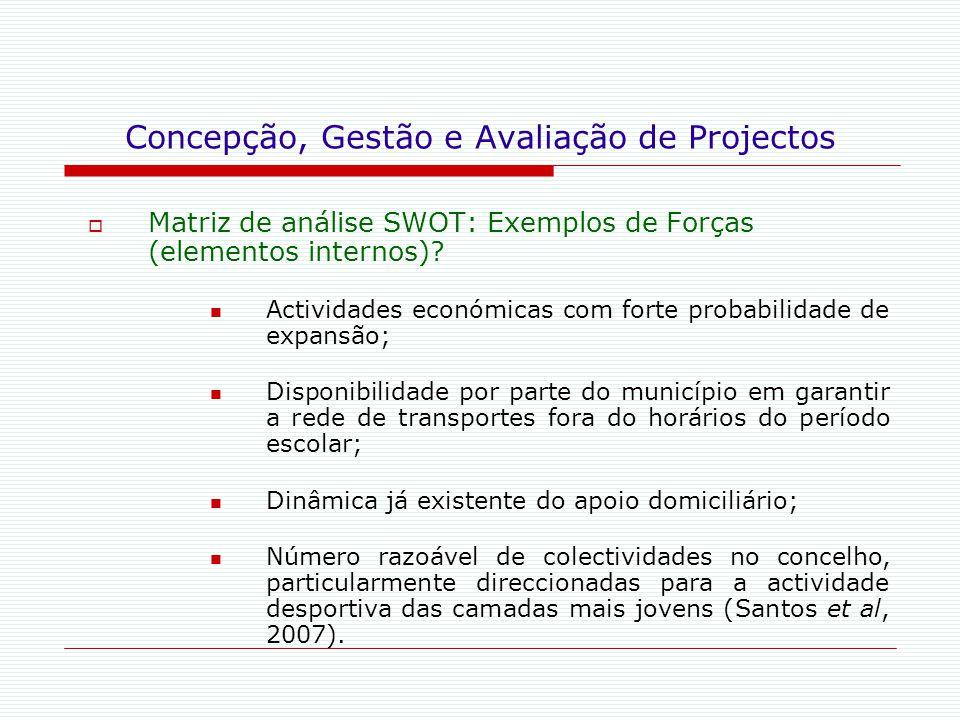 Concepção, Gestão e Avaliação de Projectos  Matriz de análise SWOT: Exemplos de Forças (elementos internos)? Actividades económicas com forte probabi