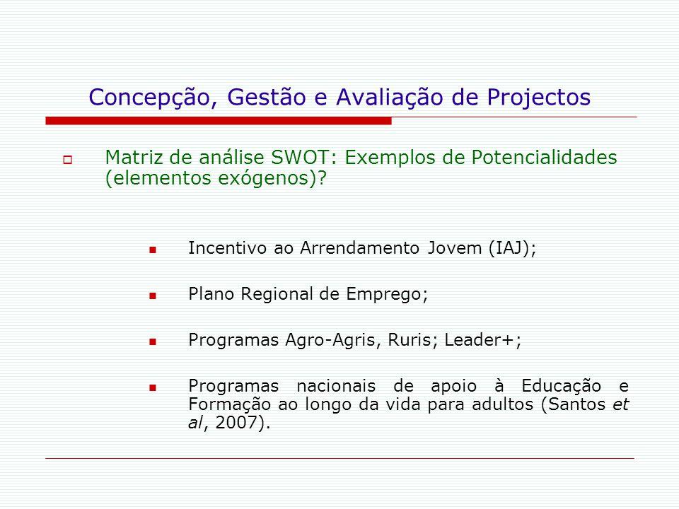 Concepção, Gestão e Avaliação de Projectos  Matriz de análise SWOT: Exemplos de Potencialidades (elementos exógenos)? Incentivo ao Arrendamento Jovem