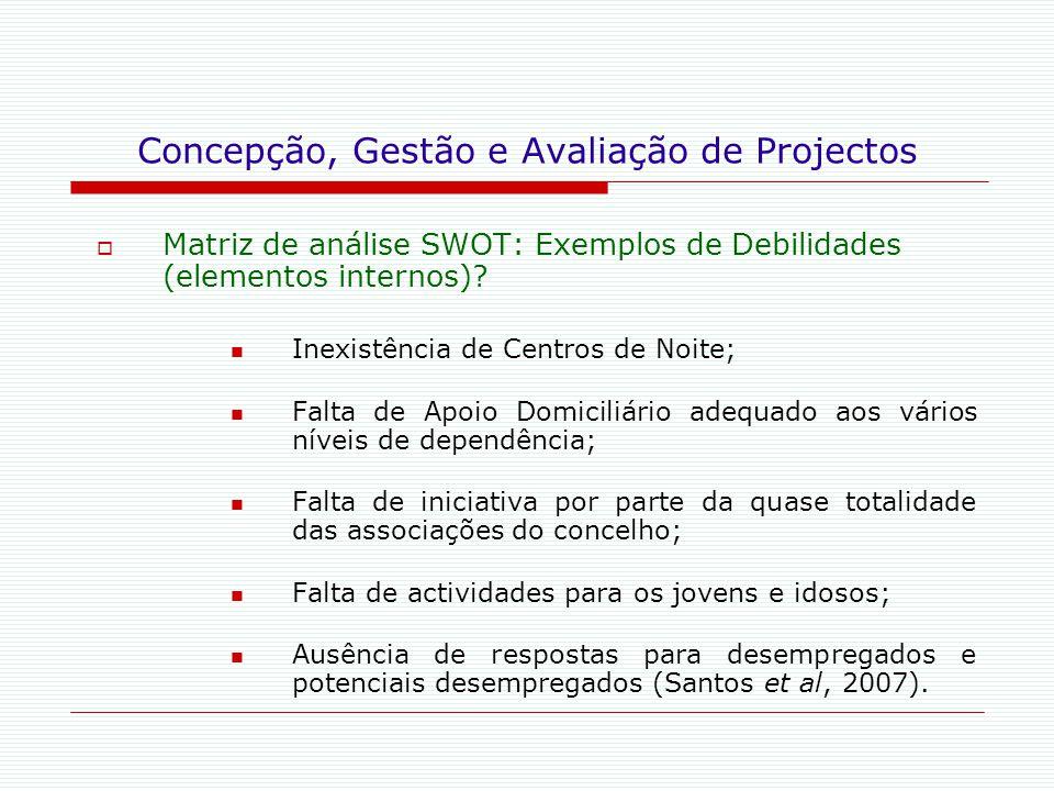 Concepção, Gestão e Avaliação de Projectos  Matriz de análise SWOT: Exemplos de Debilidades (elementos internos)? Inexistência de Centros de Noite; F
