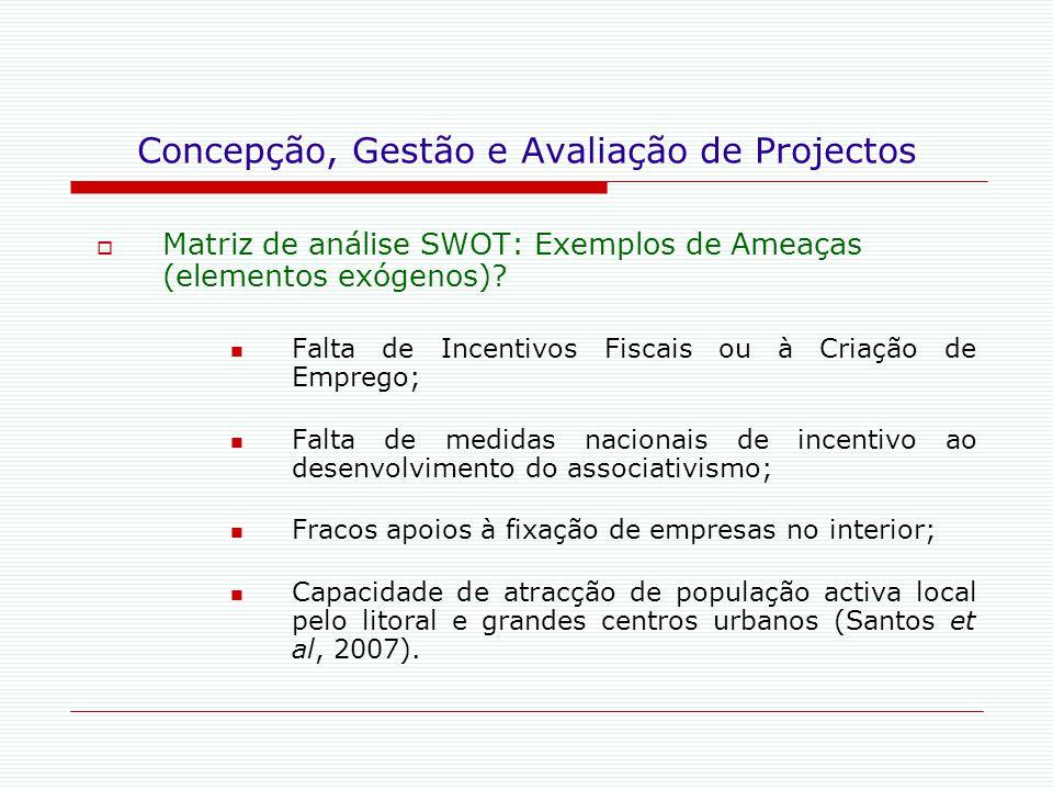 Concepção, Gestão e Avaliação de Projectos  Matriz de análise SWOT: Exemplos de Ameaças (elementos exógenos)? Falta de Incentivos Fiscais ou à Criaçã