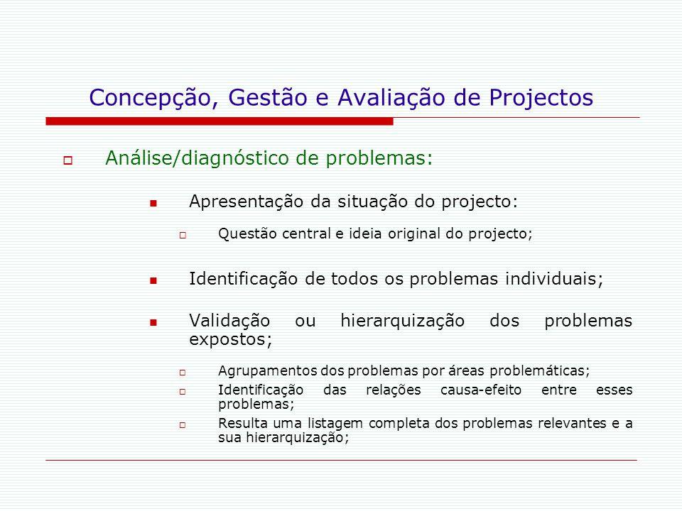 Concepção, Gestão e Avaliação de Projectos  Análise/diagnóstico de problemas: Apresentação da situação do projecto:  Questão central e ideia origina