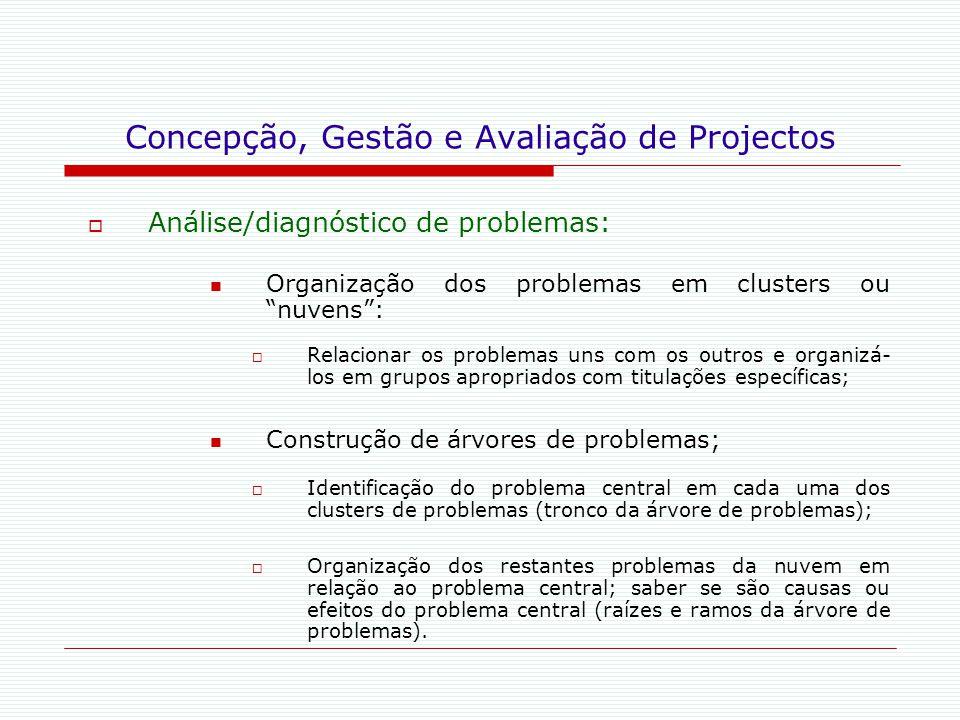 """Concepção, Gestão e Avaliação de Projectos  Análise/diagnóstico de problemas: Organização dos problemas em clusters ou """"nuvens"""":  Relacionar os prob"""