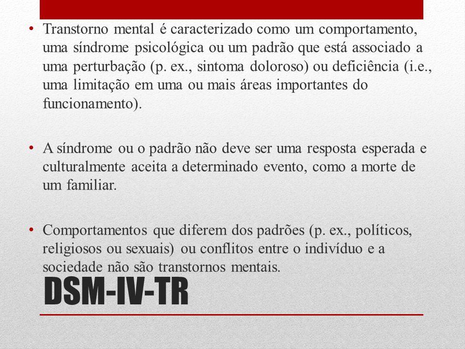 DSM-IV-TR Transtorno mental é caracterizado como um comportamento, uma síndrome psicológica ou um padrão que está associado a uma perturbação (p. ex.,