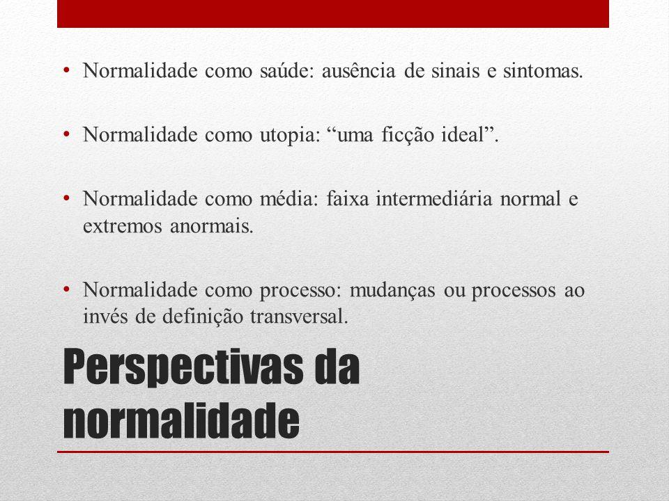 """Perspectivas da normalidade Normalidade como saúde: ausência de sinais e sintomas. Normalidade como utopia: """"uma ficção ideal"""". Normalidade como média"""