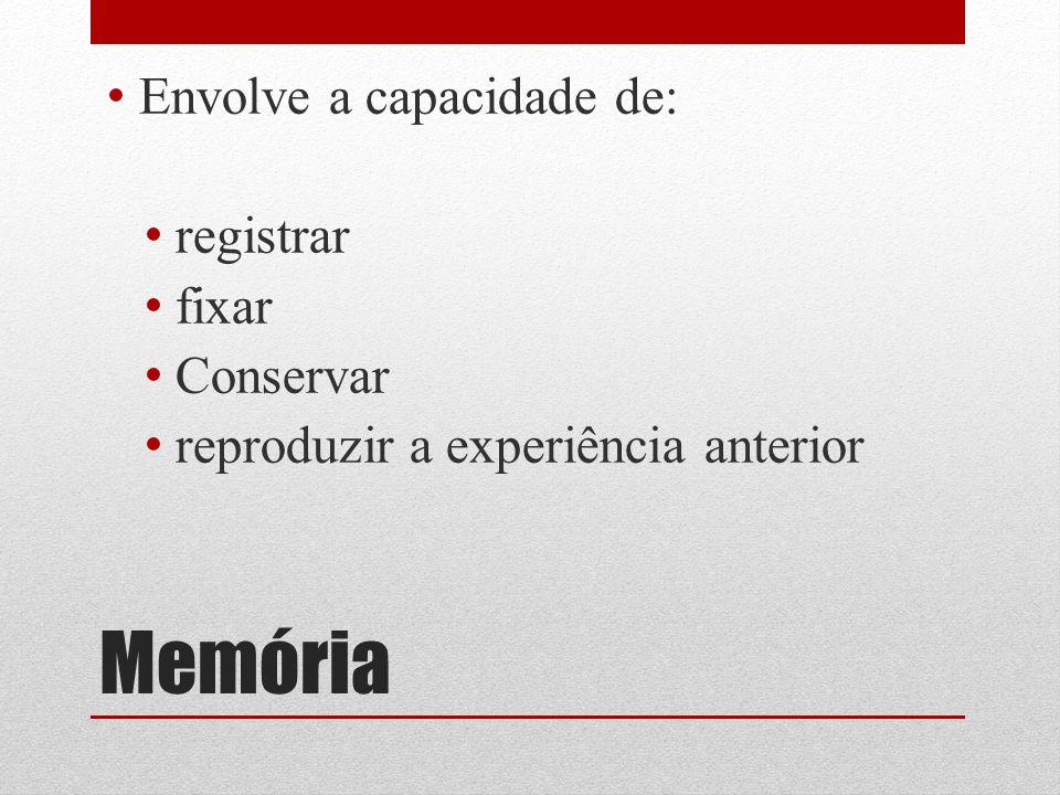 Memória Envolve a capacidade de: registrar fixar Conservar reproduzir a experiência anterior