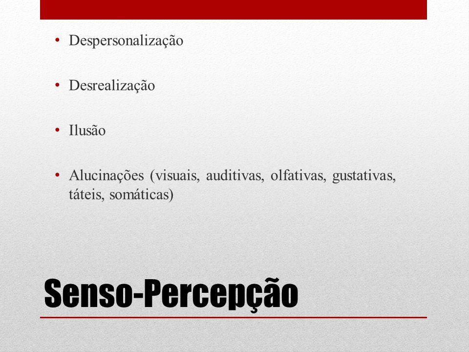 Senso-Percepção Despersonalização Desrealização Ilusão Alucinações (visuais, auditivas, olfativas, gustativas, táteis, somáticas)