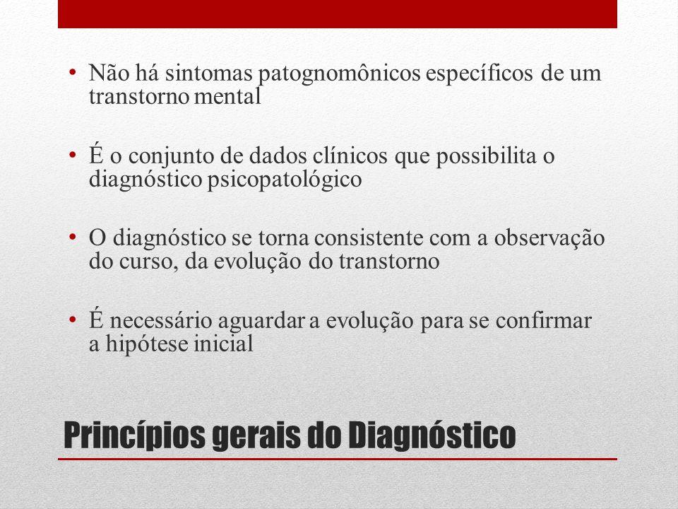 Aspectos particulares do diagnóstico psiquiátrico Baseado em dados clínicos Difícil base em mecanismos etiológicos Inexistência de sintomas específicos Estão em constante evolução Confiabilidade (reprodução) Validade (verdade)