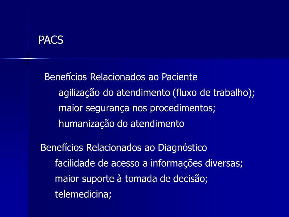 Benefícios Relacionados ao Paciente agilização do atendimento (fluxo de trabalho); maior segurança nos procedimentos; humanização do atendimento Benef