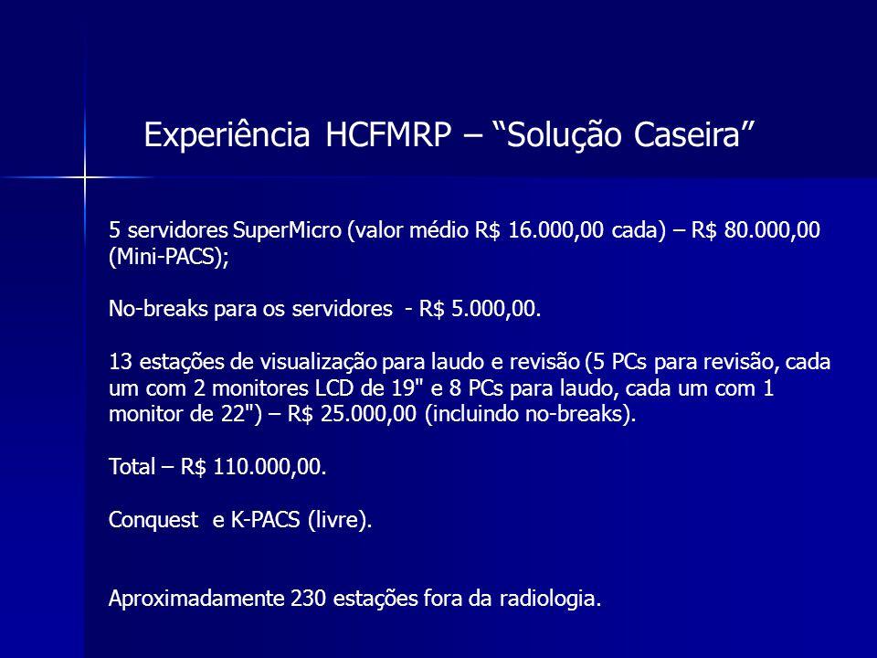 """Experiência HCFMRP – """"Solução Caseira"""" 5 servidores SuperMicro (valor médio R$ 16.000,00 cada) – R$ 80.000,00 (Mini-PACS); No-breaks para os servidore"""