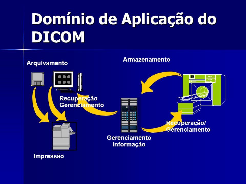 Domínio de Aplicação do DICOM MAGN ETOM Gerenciamento Informação Armazenamento Recuperação/ Gerenciamento Recuperação Gerenciamento Impressão Arquivam