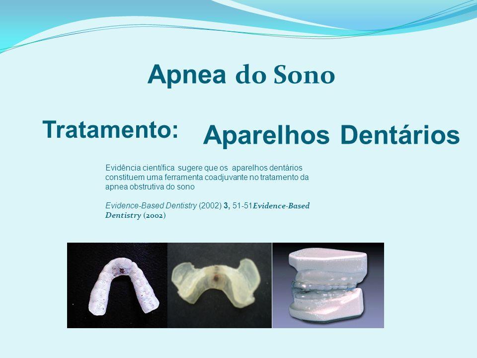 Apnea do Sono Tratamento: Aparelhos Dentários Evidência científica sugere que os aparelhos dentários constituem uma ferramenta coadjuvante no tratamento da apnea obstrutiva do sono Evidence-Based Dentistry (2002) 3, 51-51 Evidence-Based Dentistry (2002)