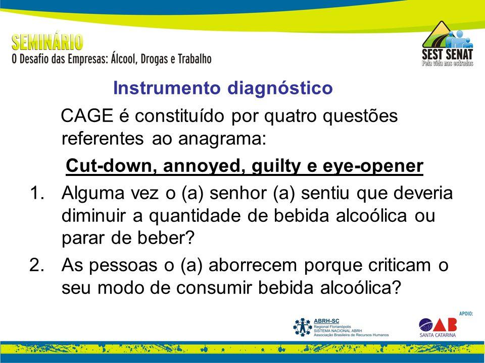 Instrumento diagnóstico CAGE é constituído por quatro questões referentes ao anagrama: Cut-down, annoyed, guilty e eye-opener 1.Alguma vez o (a) senhor (a) sentiu que deveria diminuir a quantidade de bebida alcoólica ou parar de beber.