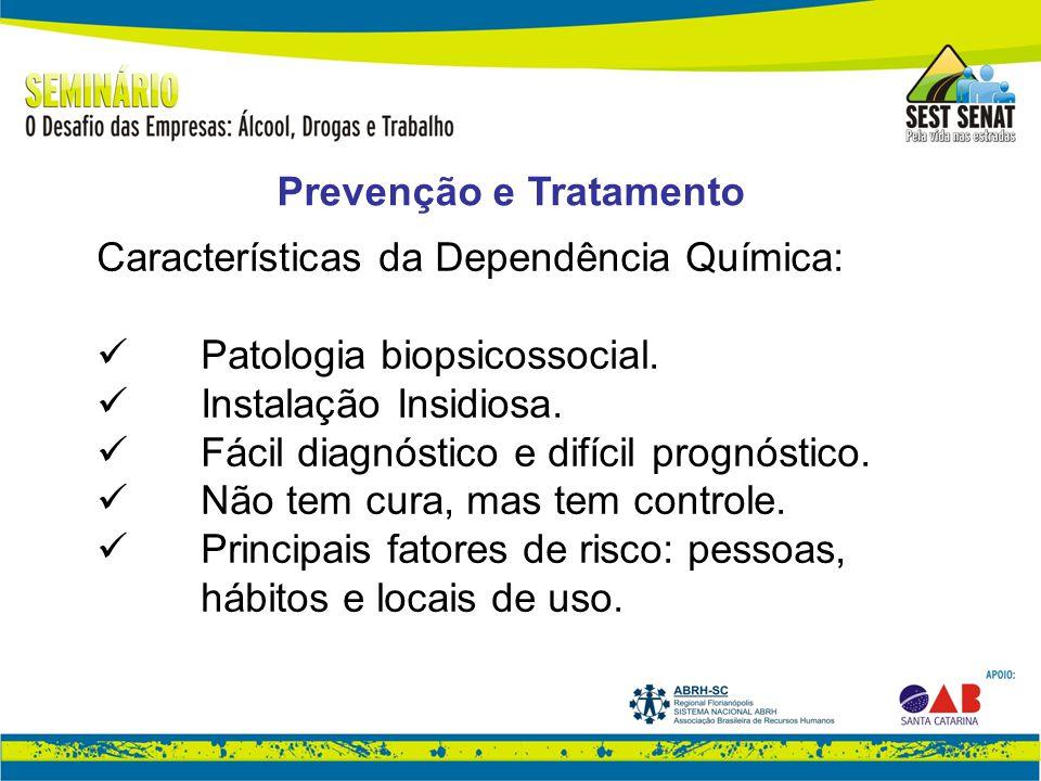 Características da Dependência Química: Patologia biopsicossocial.
