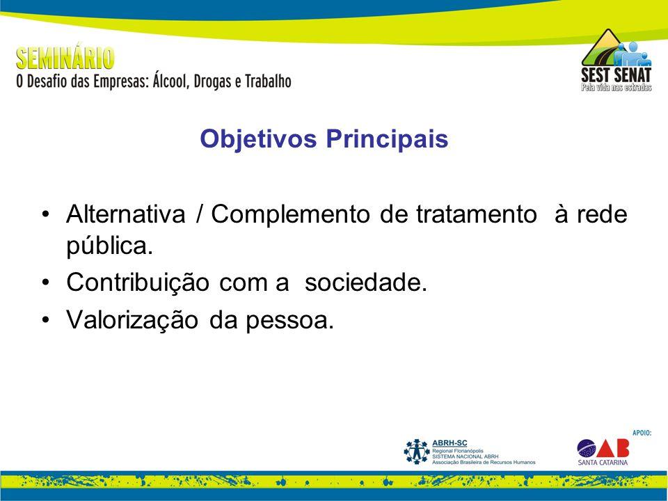 Objetivos Principais Alternativa / Complemento de tratamento à rede pública.