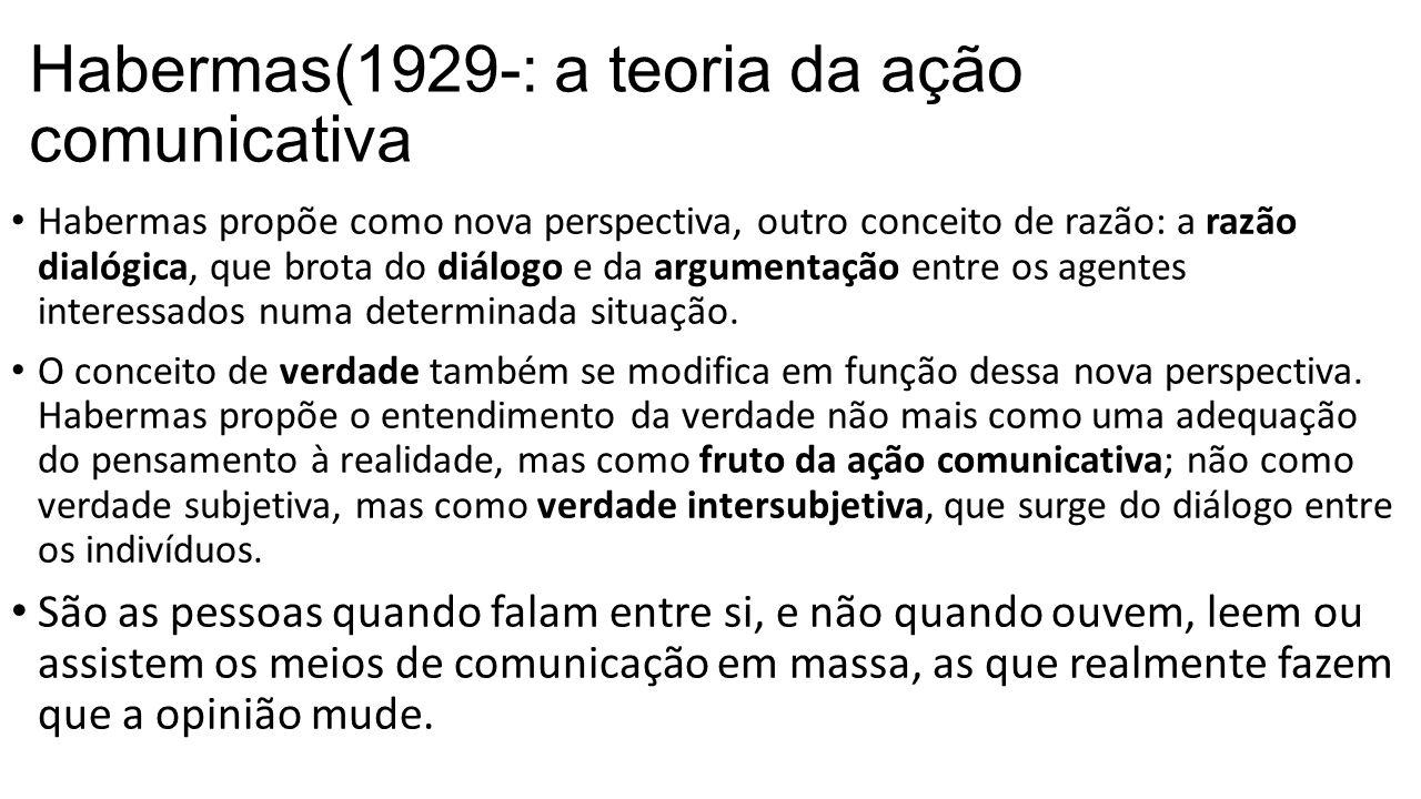 Habermas(1929-: a teoria da ação comunicativa Habermas propõe como nova perspectiva, outro conceito de razão: a razão dialógica, que brota do diálogo