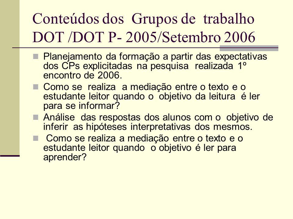 Conteúdos dos Grupos de trabalho DOT /DOT P- 2005/Setembro 2006 Planejamento da formação a partir das expectativas dos CPs explicitadas na pesquisa re