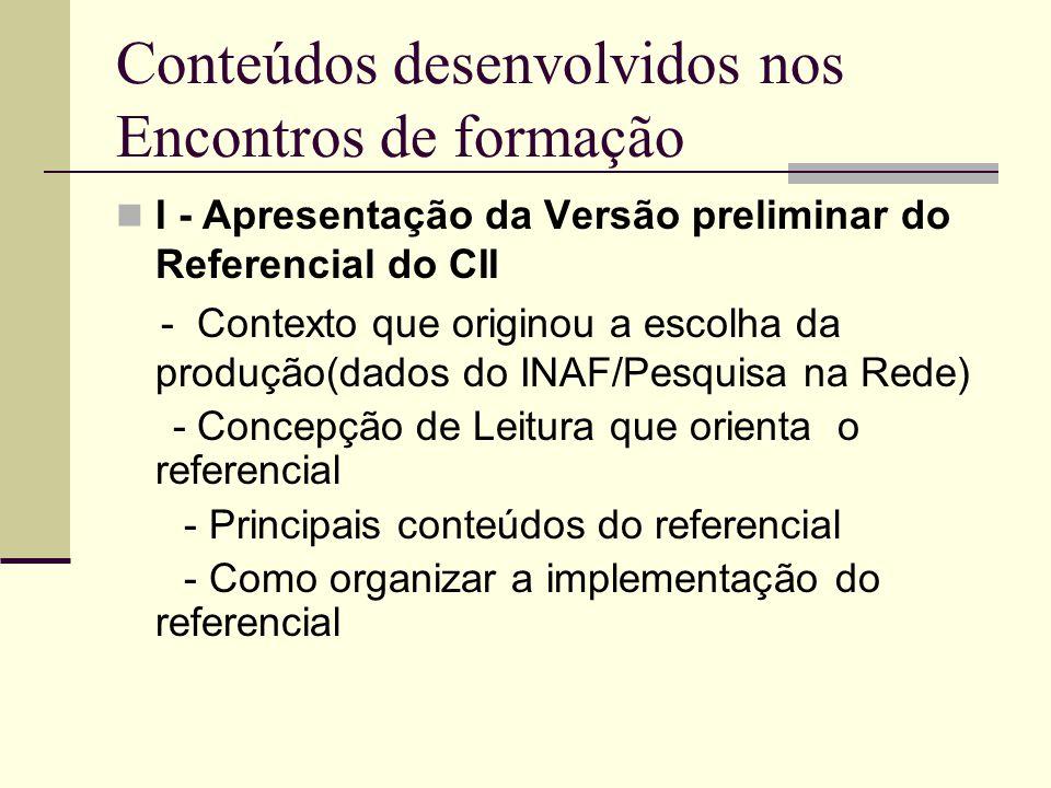 Conteúdos desenvolvidos nos Encontros de formação I - Apresentação da Versão preliminar do Referencial do CII - Contexto que originou a escolha da pro