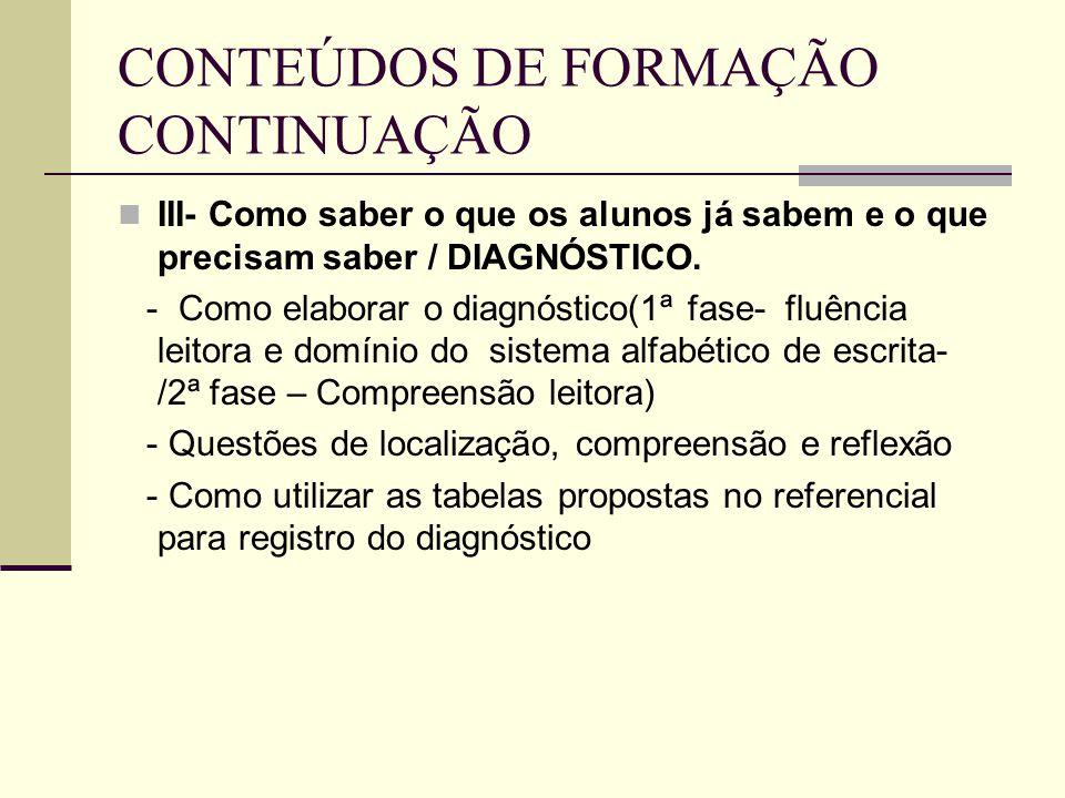 CONTEÚDOS DE FORMAÇÃO CONTINUAÇÃO III- Como saber o que os alunos já sabem e o que precisam saber / DIAGNÓSTICO. - Como elaborar o diagnóstico(1ª fase