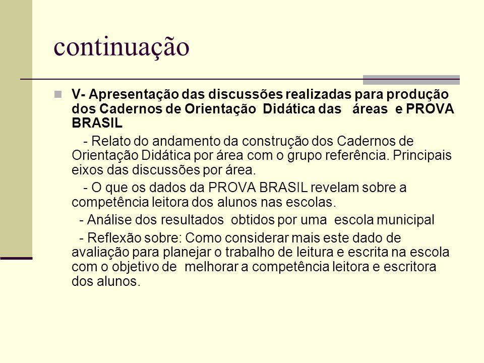 continuação V- Apresentação das discussões realizadas para produção dos Cadernos de Orientação Didática das áreas e PROVA BRASIL - Relato do andamento