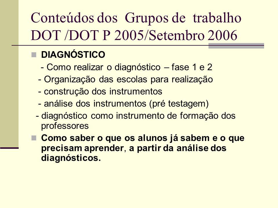 Conteúdos dos Grupos de trabalho DOT /DOT P 2005/Setembro 2006 DIAGNÓSTICO - Como realizar o diagnóstico – fase 1 e 2 - Organização das escolas para r