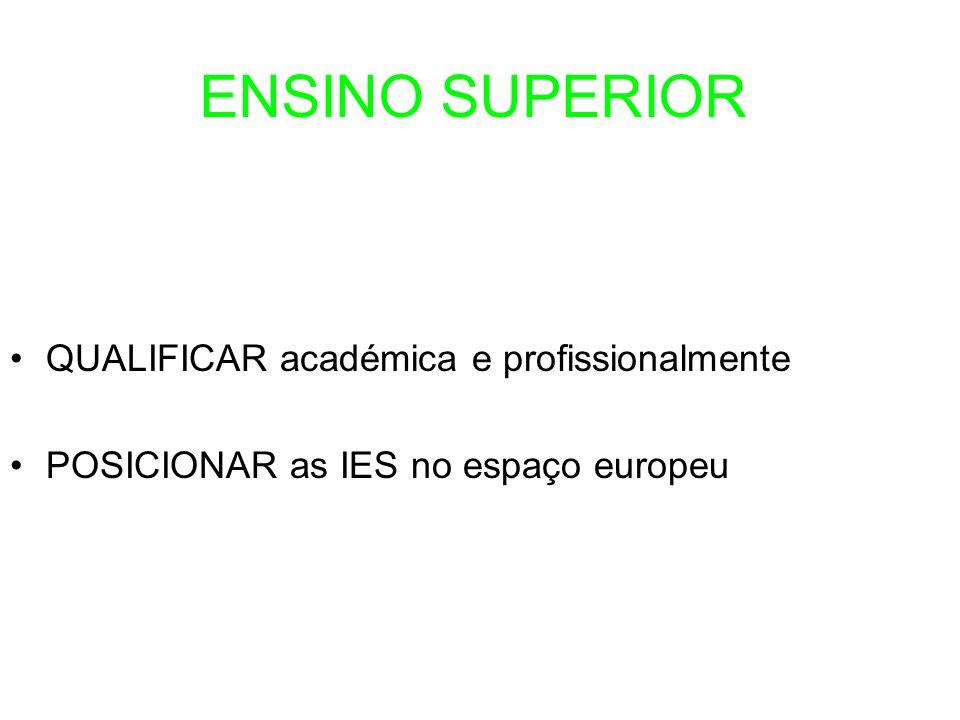 QUALIFICAR académica e profissionalmente POSICIONAR as IES no espaço europeu ENSINO SUPERIOR