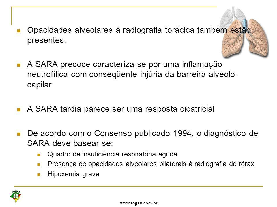 www.sogab.com.br Opacidades alveolares à radiografia torácica também estão presentes. A SARA precoce caracteriza-se por uma inflamação neutrofílica co
