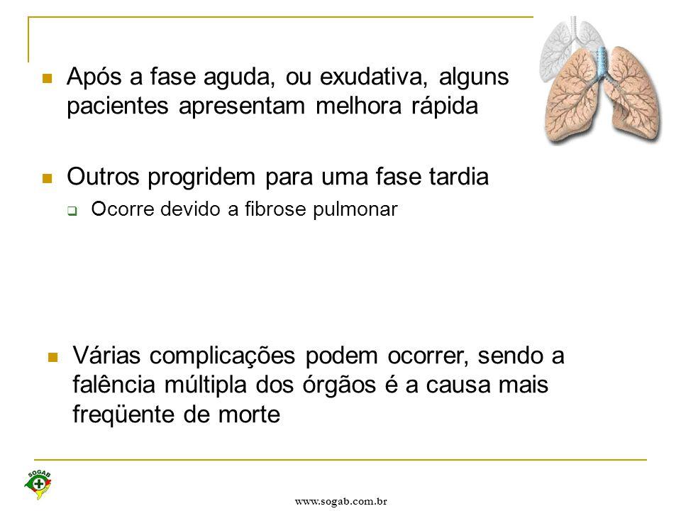 www.sogab.com.br Após a fase aguda, ou exudativa, alguns pacientes apresentam melhora rápida Outros progridem para uma fase tardia  Ocorre devido a f