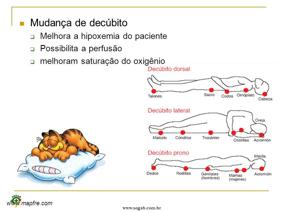 www.sogab.com.br Mudança de decúbito  Melhora a hipoxemia do paciente  Possibilita a perfusão  melhoram saturação do oxigênio www.mapfre.com