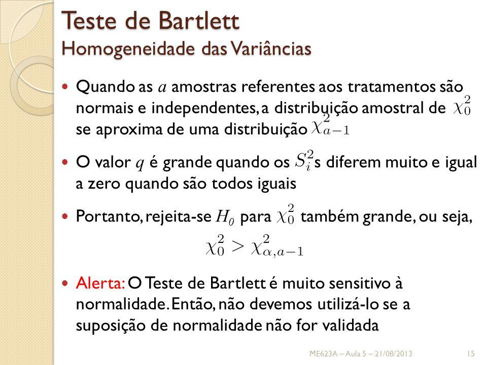 Teste de Bartlett Homogeneidade das Variâncias Quando as a amostras referentes aos tratamentos são normais e independentes, a distribuição amostral de se aproxima de uma distribuição O valor q é grande quando os s diferem muito e igual a zero quando são todos iguais Portanto, rejeita-se H 0 para também grande, ou seja, Alerta: O Teste de Bartlett é muito sensitivo à normalidade.