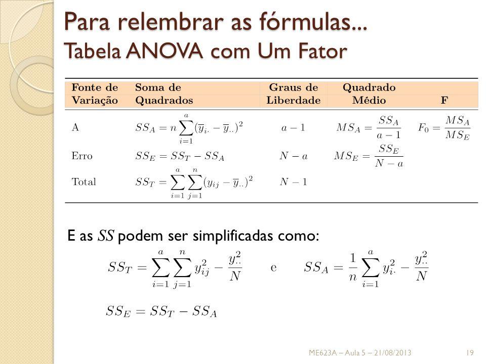 Para relembrar as fórmulas...