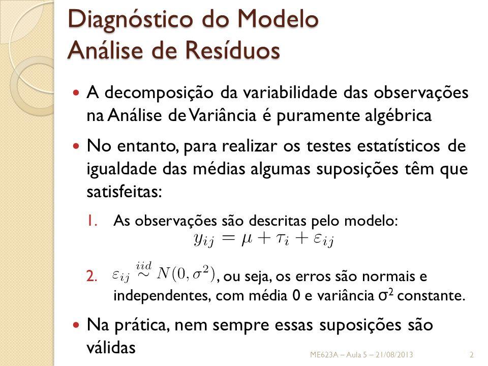 Análise de Resíduos Não se deve confiar nos resultados da Análise de Variância até que as suposições sejam validadas Isso pode ser feito atráves da Análise de Resíduos O resíduo para a j -ésima observação no i -ésimo tratamento é definido como: em que é uma estimativa do observação, obtida da seguinte forma ME623A – Aula 5 – 21/08/20133