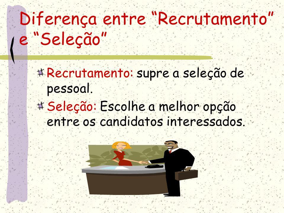 """Diferença entre """"Recrutamento"""" e """"Seleção"""" Recrutamento: supre a seleção de pessoal. Seleção: Escolhe a melhor opção entre os candidatos interessados."""