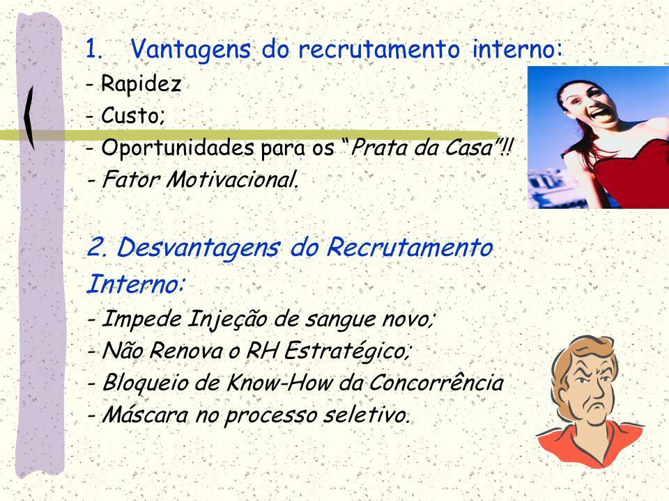 """1.Vantagens do recrutamento interno: - Rapidez - Custo; - Oportunidades para os """"Prata da Casa""""!! - Fator Motivacional. 2. Desvantagens do Recrutament"""