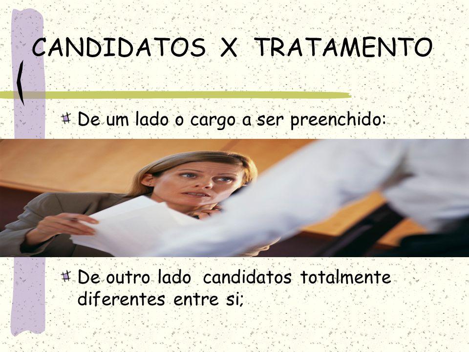 CANDIDATOS X TRATAMENTO De um lado o cargo a ser preenchido: De outro lado candidatos totalmente diferentes entre si;