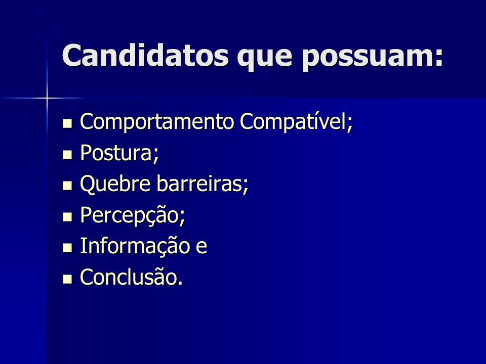 Candidatos que possuam: Comportamento Compatível; Comportamento Compatível; Postura; Postura; Quebre barreiras; Quebre barreiras; Percepção; Percepção; Informação e Informação e Conclusão.