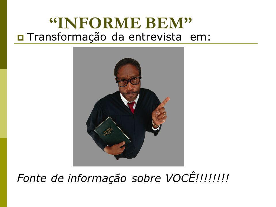 INFORME BEM  Transformação da entrevista em: Fonte de informação sobre VOCÊ!!!!!!!!
