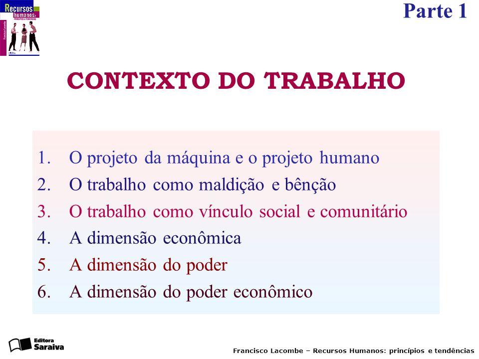 Parte 1 Francisco Lacombe – Recursos Humanos: princípios e tendências CONTEXTO DO TRABALHO 1. O projeto da máquina e o projeto humano 2. O trabalho co