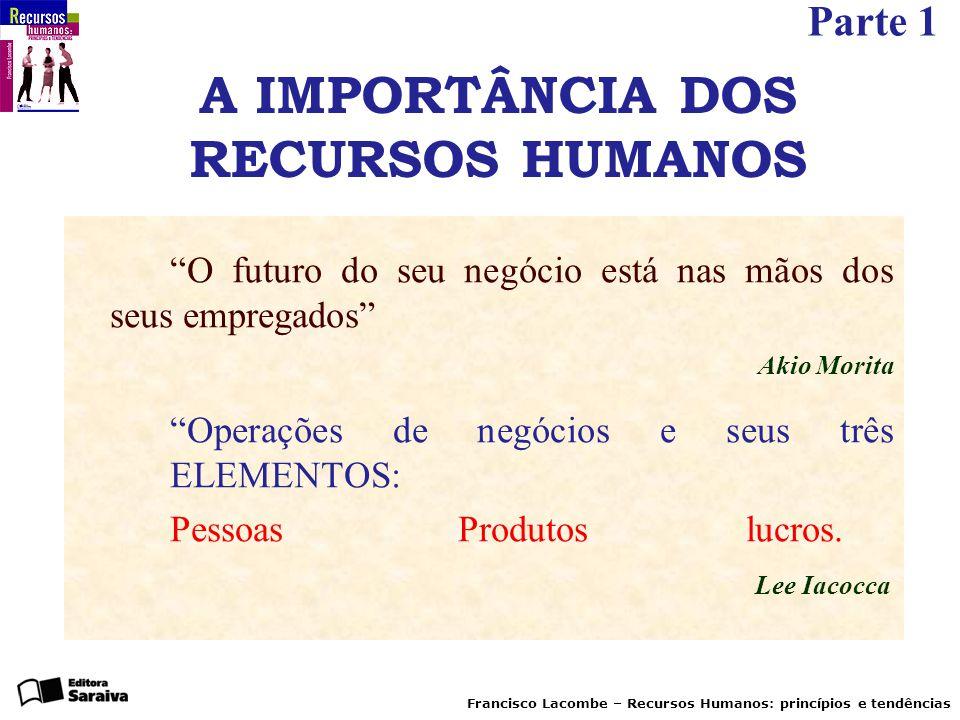 """Parte 1 Francisco Lacombe – Recursos Humanos: princípios e tendências A IMPORTÂNCIA DOS RECURSOS HUMANOS """"O futuro do seu negócio está nas mãos dos se"""